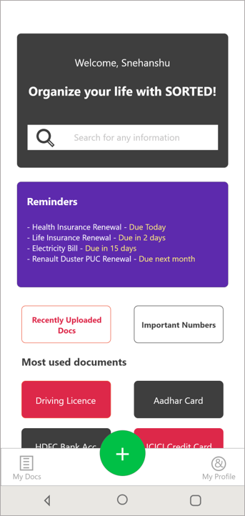 Home Screen of Sorted App where it shows automatic reminders based on information extracted from documents.