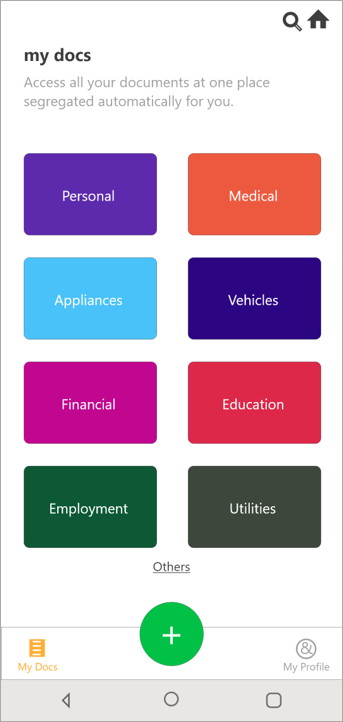 Documents are automatically categorized under different heads such as personal, financial, vehicles etc.